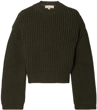 Michael Kors Collection Cropped Ribbed Cashmere Sweater