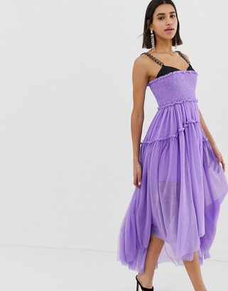 Asos Edition EDITION tulle dip back maxi dress with chain straps
