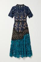 Self-Portrait Self Portrait Satin And Grosgrain-trimmed Paneled Guipure Lace Midi Dress