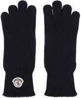 Moncler Navy Wool Logo Gloves