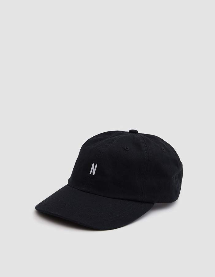 Norse Projects Light Twill Sports Cap in Black