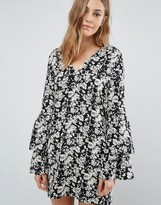 Boohoo Floral V Neck Frill Sleeve Dress