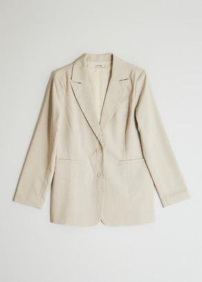 Farrow Women's Tienette Striped Blazer Jacket in Ivory/Brown, Size Small | Spandex