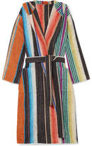 Missoni Home Hooded Striped Cotton-terry Robe - Black