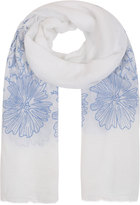 Yours Clothing White & Blue Floral Embroidered Scarf