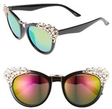Leith Women's 53Mm Crystal Embellished Cat Eye Sunglasses - Black/ Gold