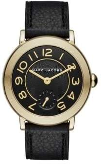 Marc Jacobs Riley Goldtone Stainless Steel & Leather Strap Watch