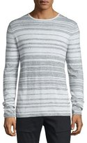 Vince Jaspe Multi-Stripe Long-Sleeve T-Shirt, Heathered Mist/White