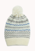 Forever 21 Multi-Striped Pom Pom Beanie