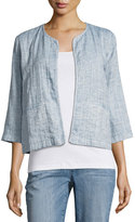 Eileen Fisher Quilted Organic Cotton/Linen Short Jacket, Chambray, Plus Size