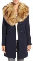 Kate Spade Twill Coat With Faux Fur Collar