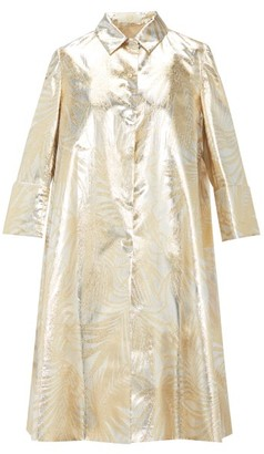 Sara Battaglia Palm-leaf Brocade Opera Coat - Gold Multi