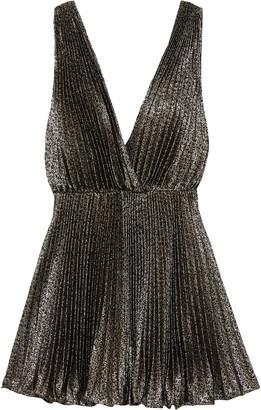 Saint Laurent Plisse-lame Mini Dress