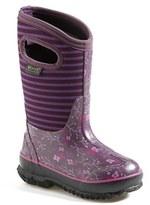 Bogs Girl's 'Classic - Flower Stripe' Waterproof Boot