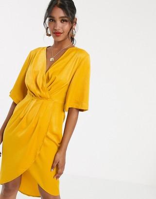 UNIQUE21 luxe stain pleated wrap midi dress