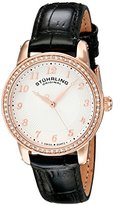 Stuhrling Original Women's 651.04 Symphony Rose Gold-Tone Stainless Steel Watch with Leather Band