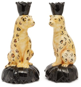Les Ottomans - Set Of Two Cheetah Ceramic Candlesticks - Orange Multi