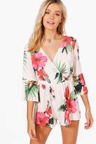 boohoo Charlotte Hibiscus Print Wrap Front Playsuit