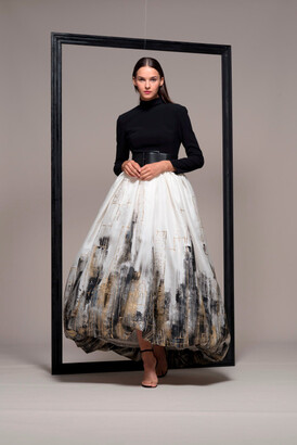 Isabel Sanchis Long Sleeve Belted Waist Evening Gown