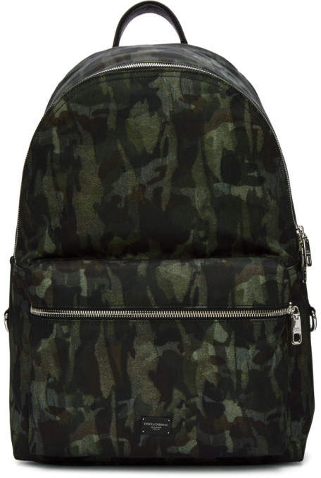 Dolce & Gabbana Green Camo Backpack