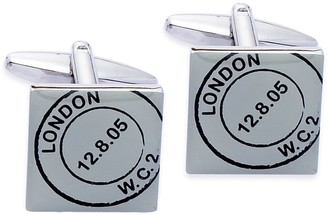 Code Red Base Metal Rhodium Plated with Black and White Screenprint Cufflinks
