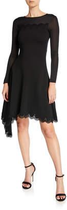 Oscar de la Renta Lace Neck Long-Sleeve Knit Dress