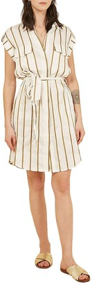 FRNCH Stripe Cuffed Cap Sleeve Shirt Dress