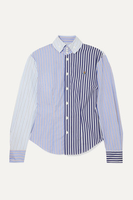 Vivienne Westwood Krall Paneled Striped Cotton-poplin Shirt - Light blue