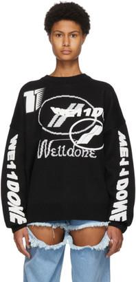we11done Black Wool Jacquard Logo Sweater