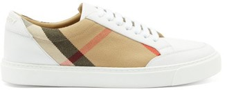 Burberry Salmond Check-panel Leather Trainers - Beige White