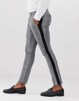 Devils Advocate skinny black and white check side stripe trousers