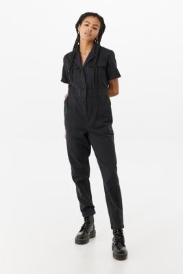 BDG Lizzy Short Sleeve Coverall Jumpsuit - Black XS at Urban Outfitters