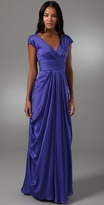 V Neck Gown with Ruched Waist