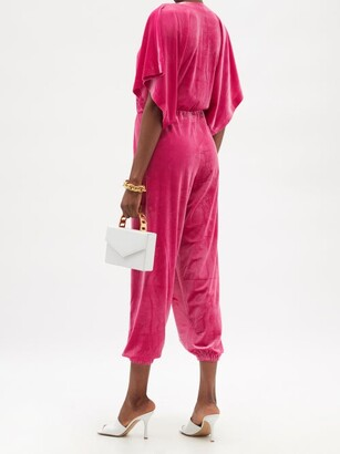 Norma Kamali V-neck Pleated Velvet Jumpsuit - Pink