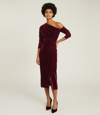 Reiss Bella - Velvet Midi Dress in Berry