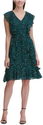 Tommy Hilfiger Flocked V-Neck Chiffon Dress