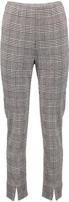 Minna Women's Dress Pants Plaid - Gray Plaid Slit-Cuff Ponte Skinny Pants - Women & Plus