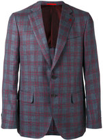 Isaia checked two button blazer - men - Silk/Linen/Flax/Wool - 52