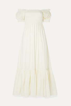 La Ligne Arielle Shirred Striped Cotton-blend Poplin Maxi Dress