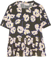 Marni Poplin-trimmed Floral-print Cotton-jersey Top - Army green