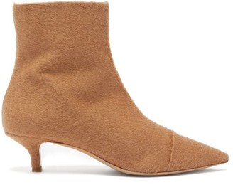 Giuliva Heritage Collection Point-toe Camel-felt Ankle Boots - Beige