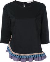 L'Autre Chose ruffled trim top - women - Cotton/Polyamide/Spandex/Elastane - 38