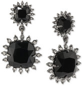 Carolee Hematite-Tone Jet Stone Double Drop Clip-On Earrings