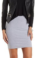 Charlotte Russe Stretch Cotton Pencil Skirt with Wide Waistband