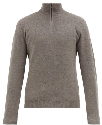 Ralph Lauren Purple Label Half-zip Wool And Cashmere-blend Sweater - Grey