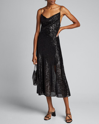 Jonathan Simkhai Sequin Embroidered Cowl-Neck Slip Dress