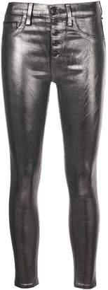 Veronica Beard metallic skinny-fit trousers