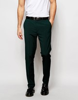 Asos Slim Smart Trousers With Stretch In Green