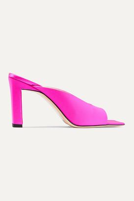 Wandler Isa Neon Satin Mules - Bright pink