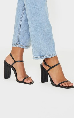 Stylish Black Block Heel Twin Strap Slingback Sandal